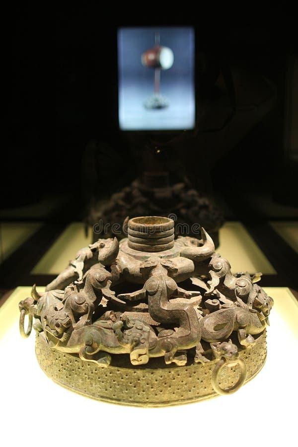 Bronzeware in Museum 20-04 van Shanghai stock afbeeldingen
