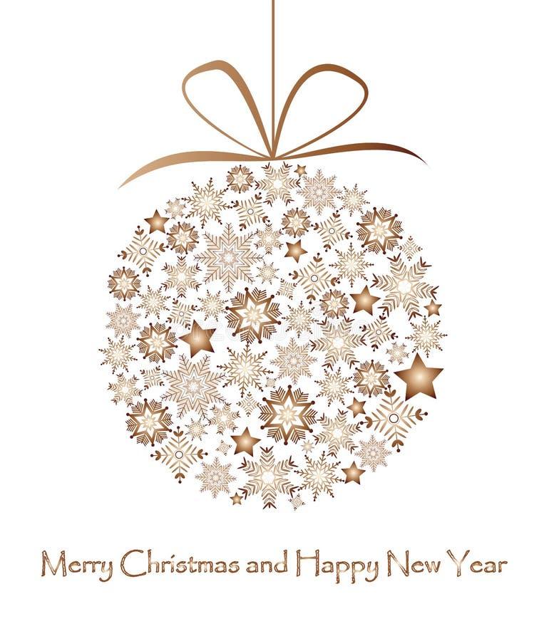 Bronzeweihnachtsball gemacht von den Schneeflocken vektor abbildung