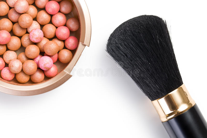 Bronzing Pearls And Makeup Brush Stock Image