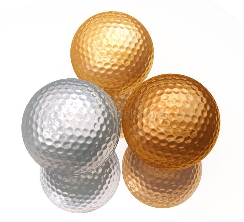 Bronzo, argento, sfere di golf dell'oro illustrazione vettoriale