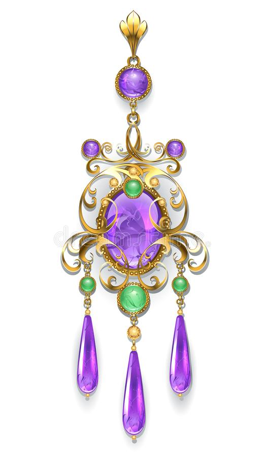 Brooch with amethyst and chrysoprase vector illustration