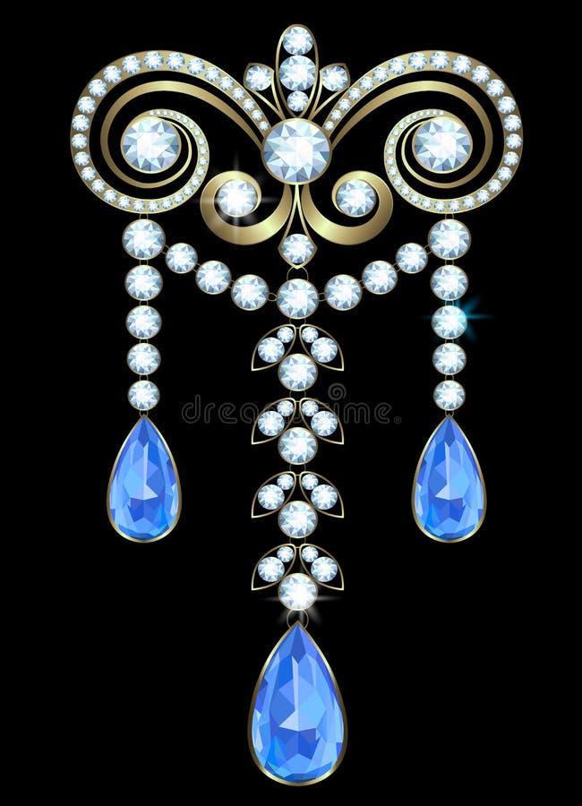 Brooch with diamonds stock illustration