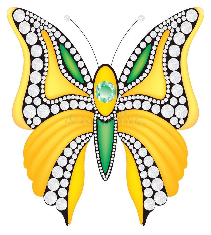 Brooch do vetor com diamantes ilustração stock