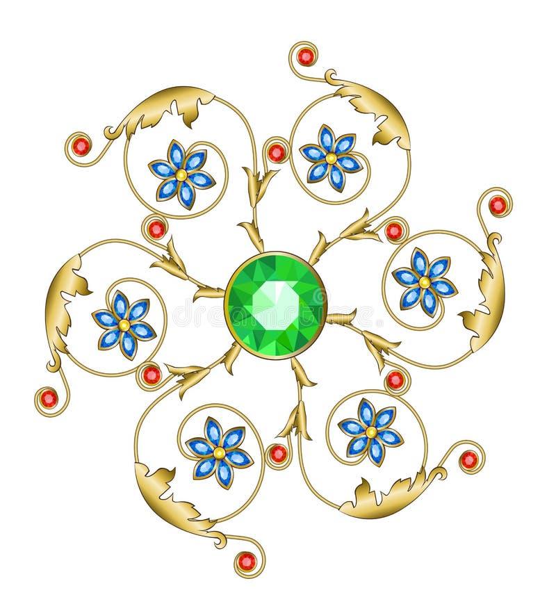 Brooch dourado ilustração royalty free
