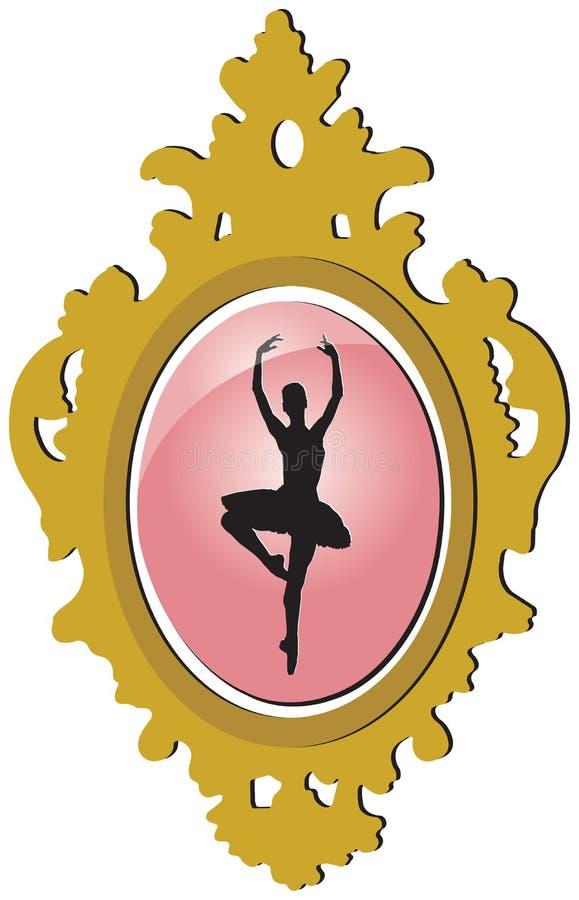Brooch dourado velho com silhueta da bailarina ilustração stock