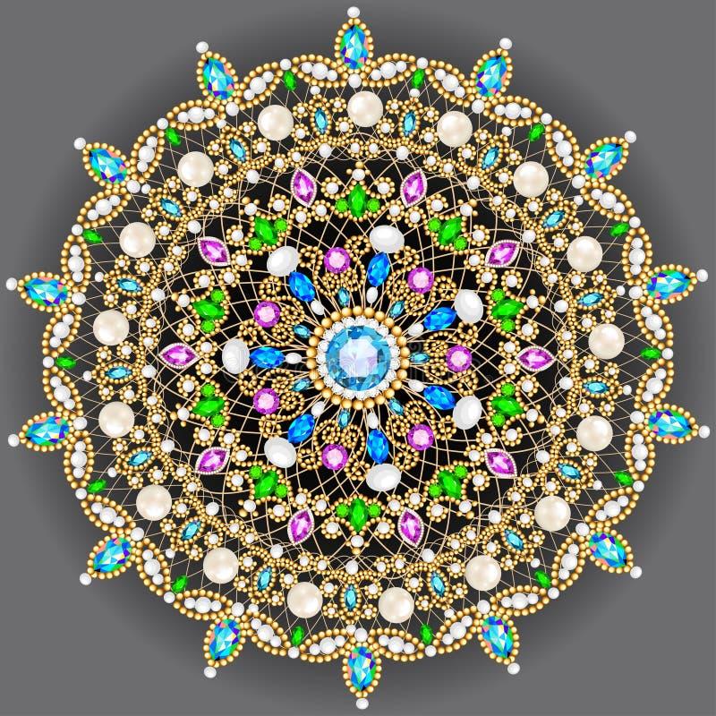 brooch jewelry, design element. Geometric vintage ornam stock illustration
