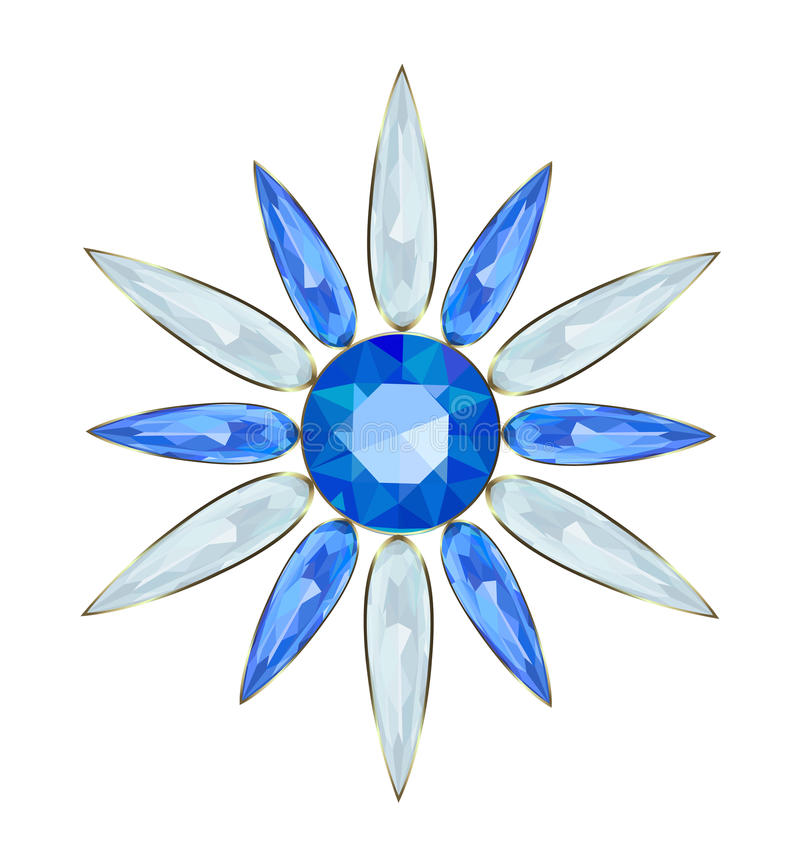 Brooch. Jewelry in form of snowflakes for Christmas design vector illustration