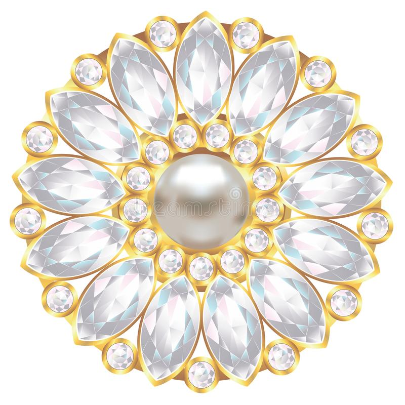 Brooch with pearl and diamonds royalty free illustration