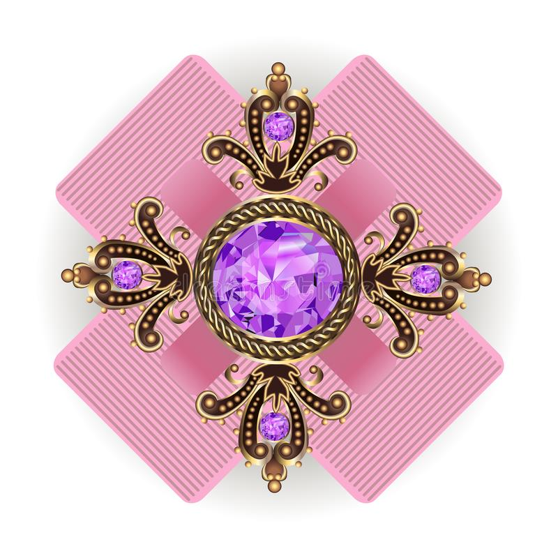 Brooch pendant vintage with jewels royalty free illustration