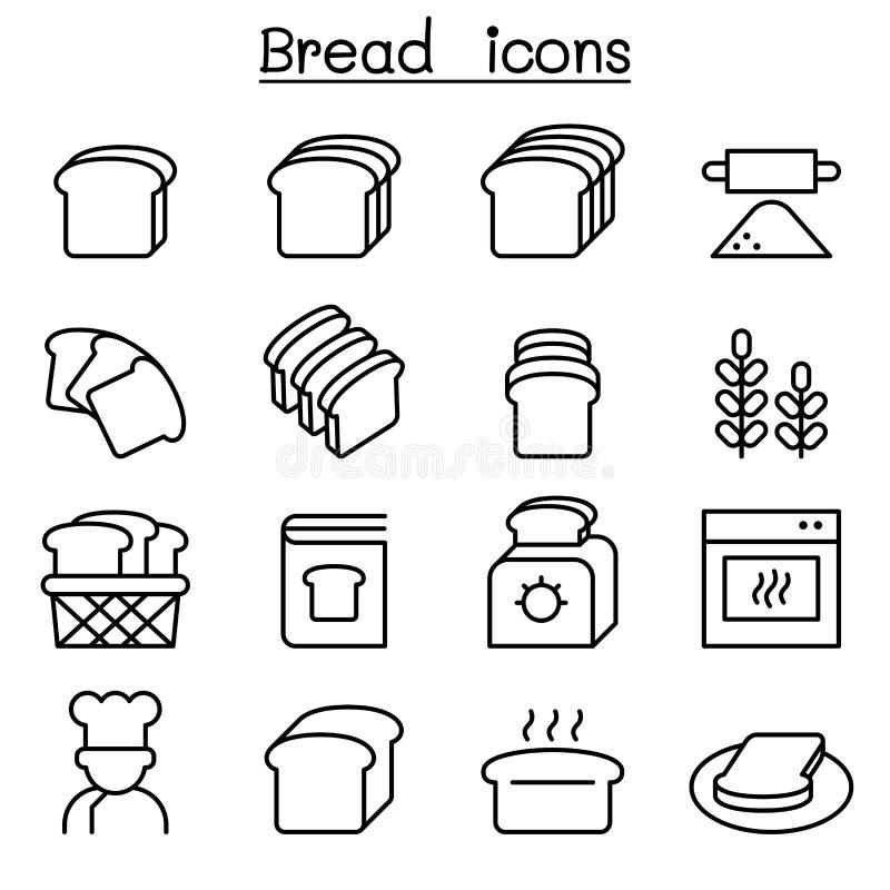 Brood, Brood, Bakkerij & Gebakjepictogram in dunne lijnstijl die wordt geplaatst royalty-vrije illustratie