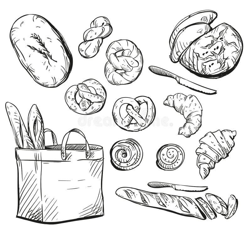 Brood broodjes baksel Vector illustratie royalty-vrije illustratie
