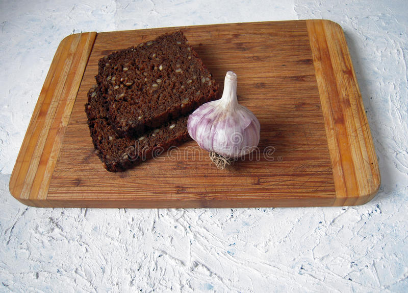 Brood en knoflook stock fotografie