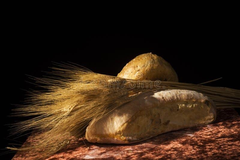 Brood en stelen van tarwe stock foto