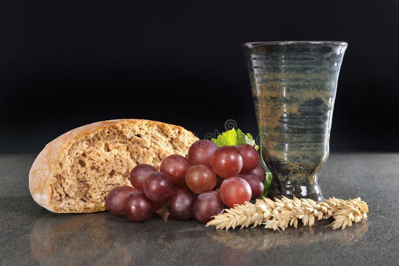 Brood en wijn stock foto's