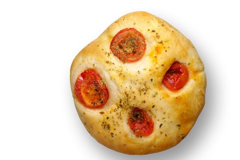 Brood: focaccia met kersentomaten stock fotografie
