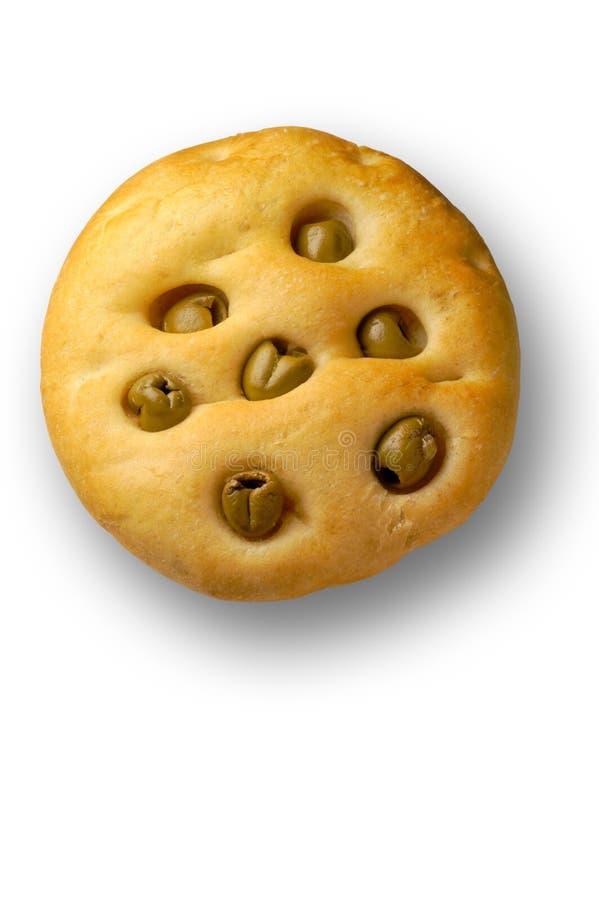Brood: focaccia met olijven stock foto