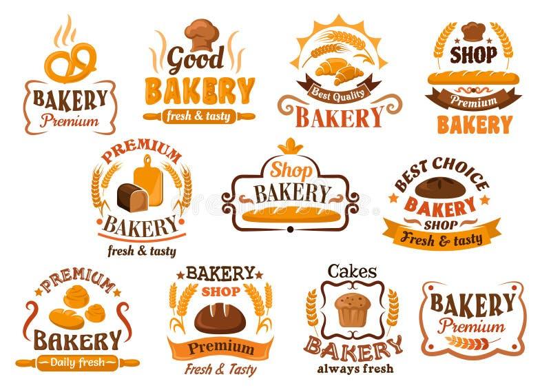 Brood, gebakje en bakkerijwinkelpictogrammen of symbolen royalty-vrije illustratie