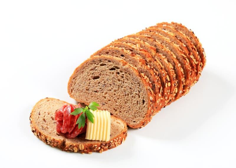 Brood met boter en salami royalty-vrije stock afbeelding