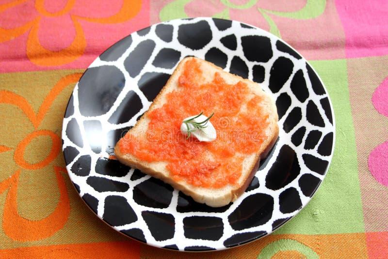 Brood met boter en vissen royalty-vrije stock foto's