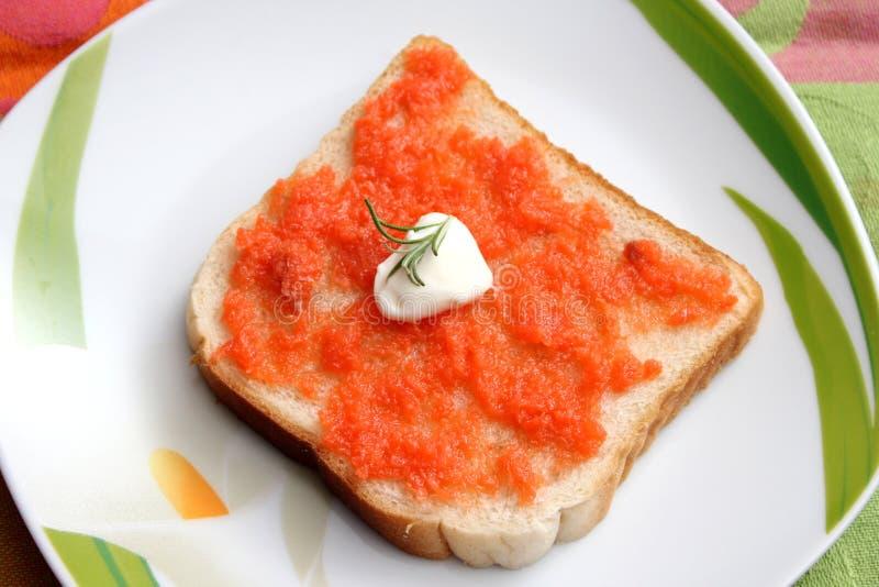 Brood met boter en vissen royalty-vrije stock foto