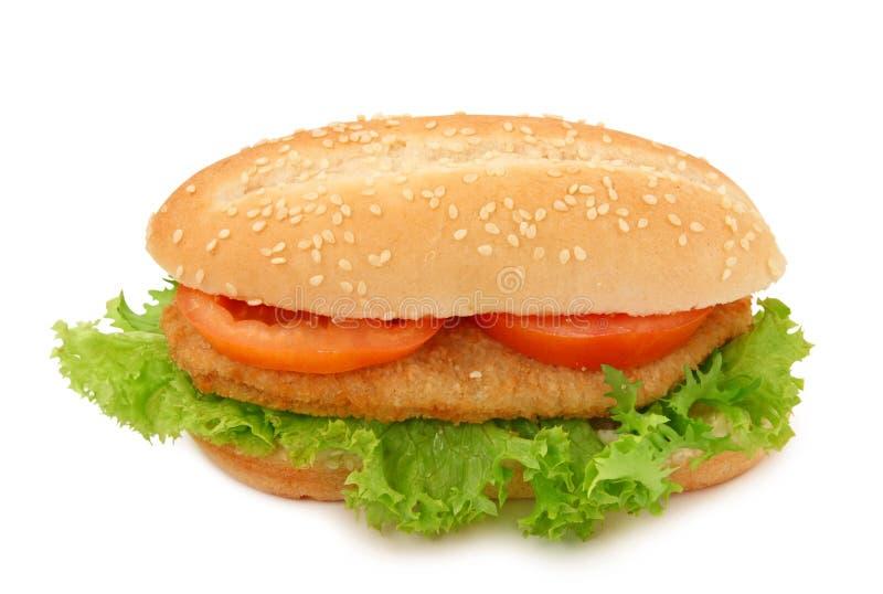 Brood met schnitzel stock afbeelding