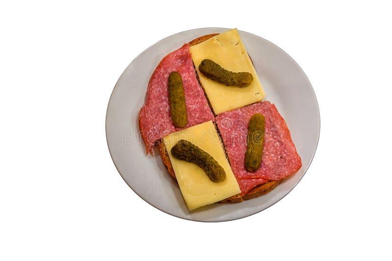 Brood met worst en kaas royalty-vrije stock afbeelding