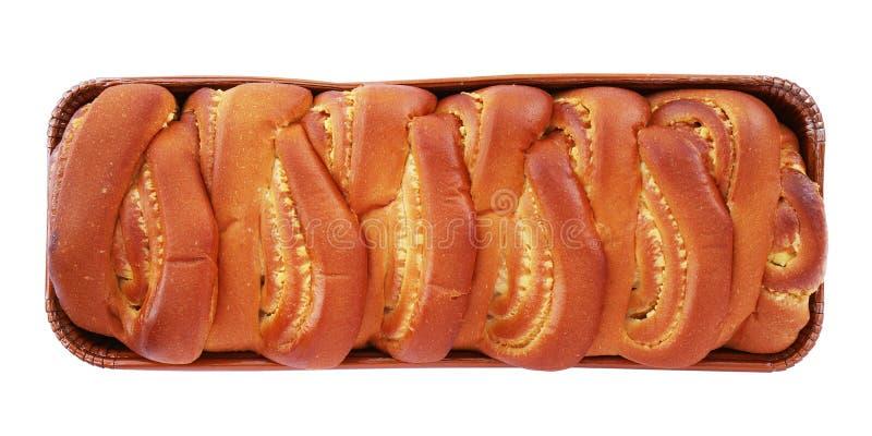 Brood van gevlecht zoet brood met vanille vullen geïsoleerd op wit stock afbeelding