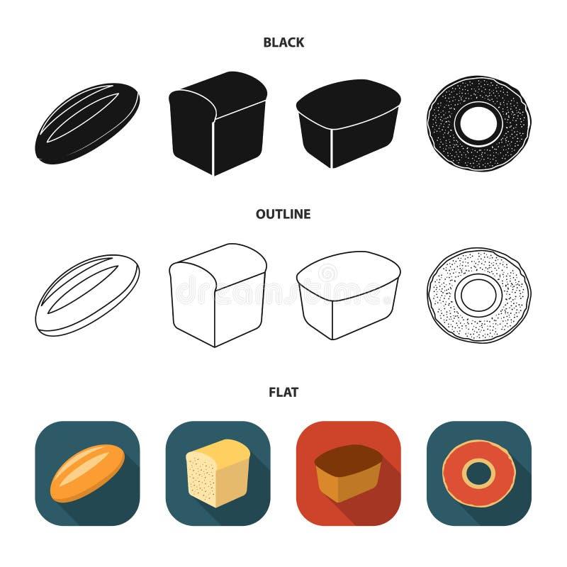 Broodbesnoeiing, ongezuurd broodje, rechthoekige dark, de helft van een brood Pictogrammen van de brood de vastgestelde inzamelin royalty-vrije illustratie