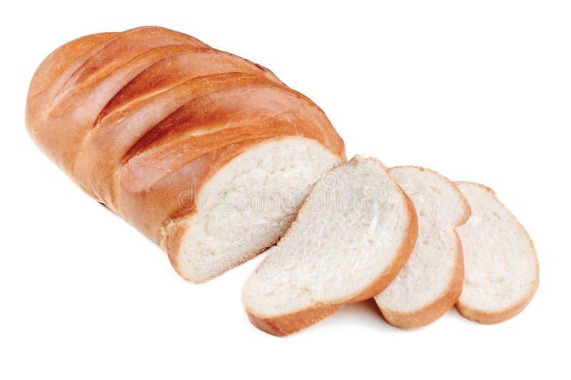 Broodbrood met gesneden geïsoleerd op een witte achtergrond stock foto