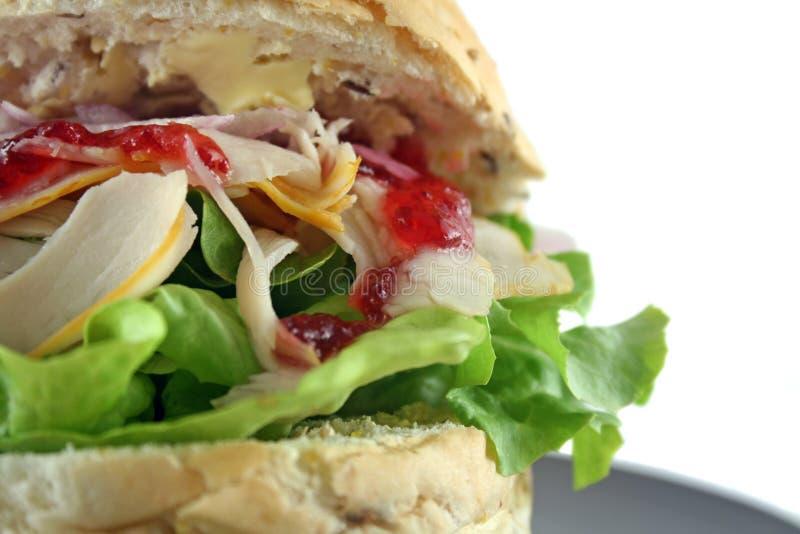 Broodje 3 van Turkije en van de Sla royalty-vrije stock afbeelding