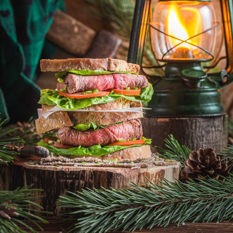 broodje met verse groenten en rundvlees stock afbeelding
