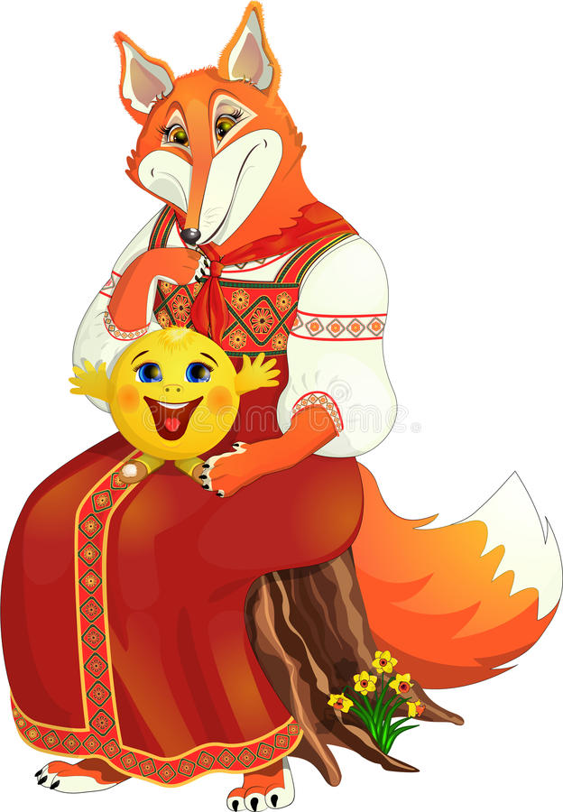Broodje op de neus van een vos royalty-vrije illustratie
