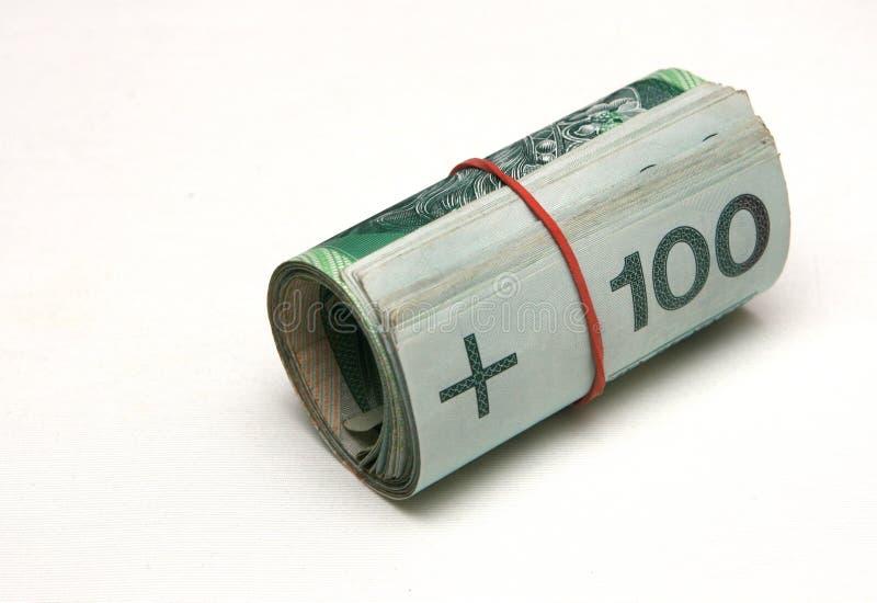 Broodje van geld stock foto