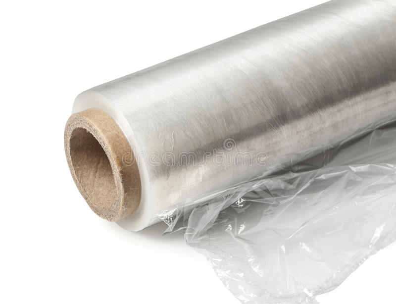 Broodje van het verpakken van plastic rekfilm stock afbeelding