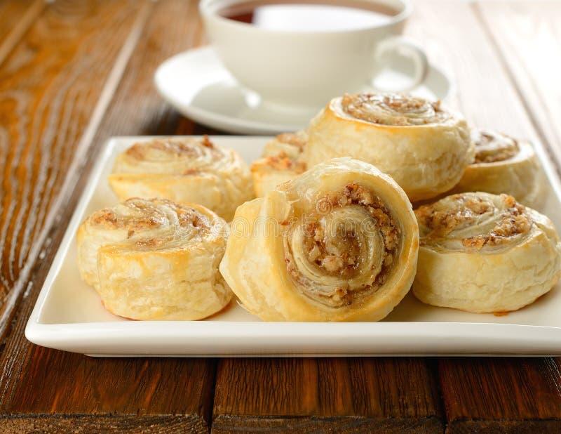 Broodjes met noot het vullen stock afbeelding