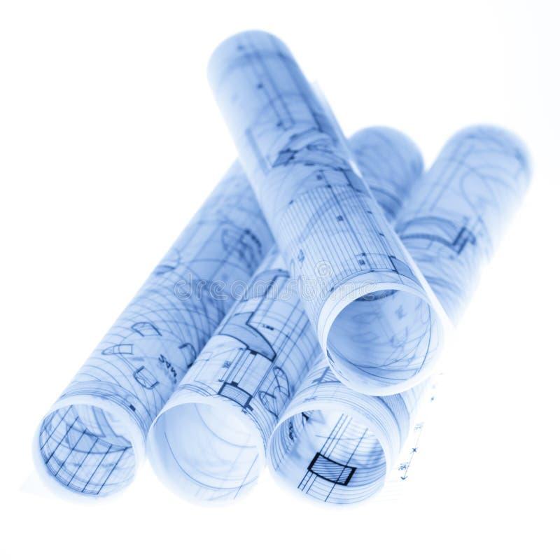 Broodjes van architectuurblauwdrukken stock afbeeldingen