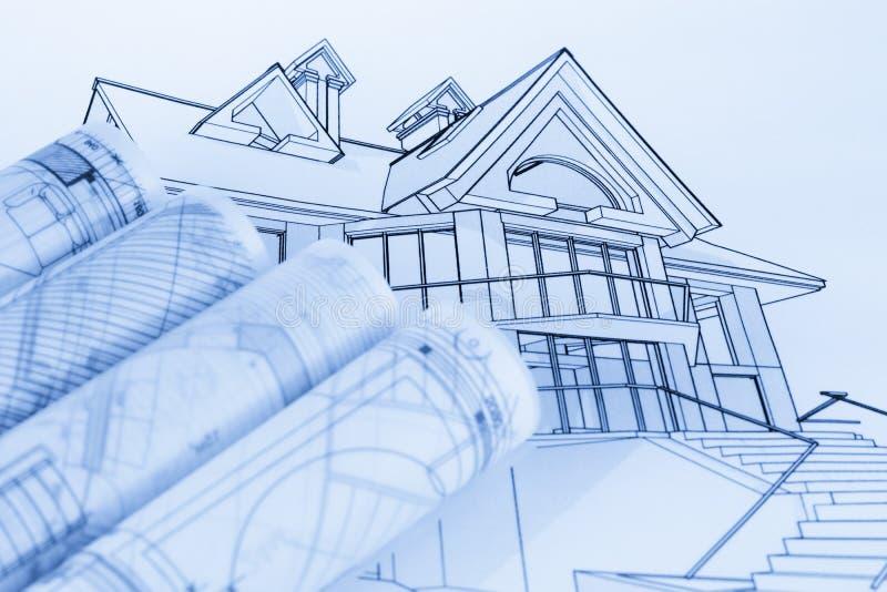 Broodjes van architectuurblauwdrukken royalty-vrije stock afbeelding