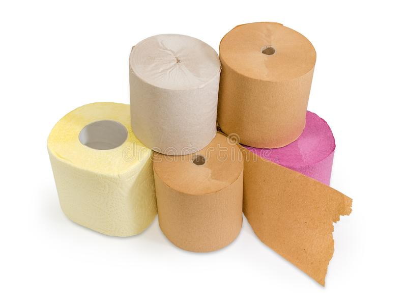 Broodjes van diverse toiletpapier verschillende kleuren op witte backgrou royalty-vrije stock fotografie