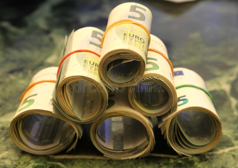 Broodjes van nota's van 5 euro royalty-vrije stock foto