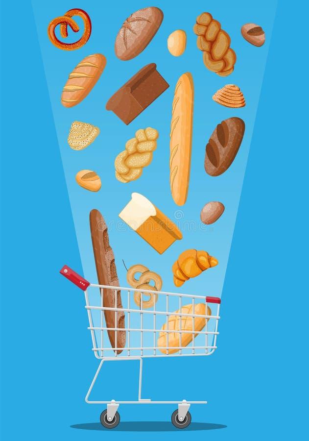 Broodpictogrammen en boodschappenwagentje stock illustratie