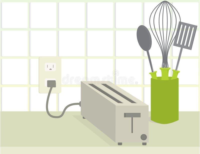 Broodrooster op teller vector illustratie