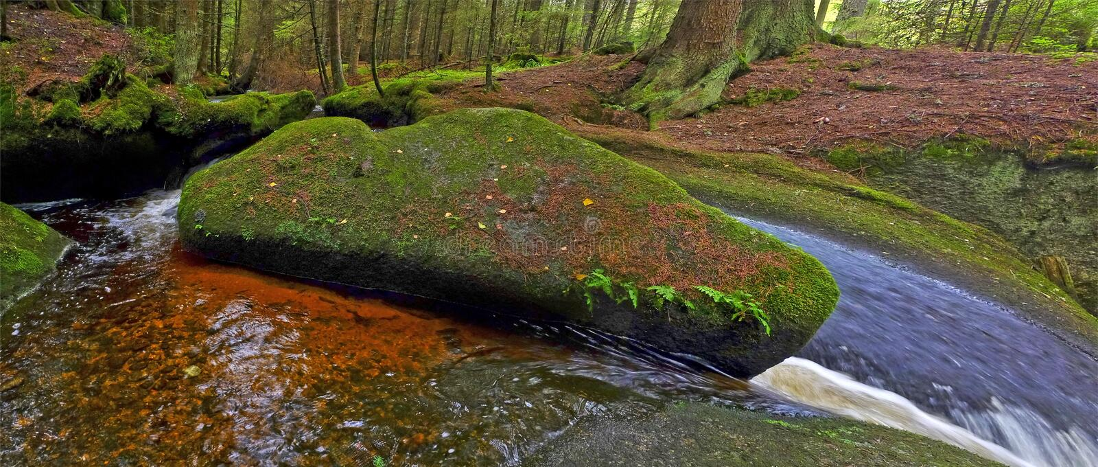 Download Brook with big stone stock image. Image of natural, cascade - 20820001