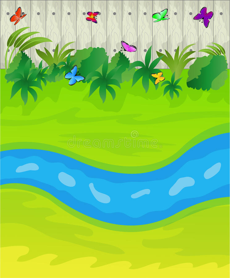 Brook on a green lawn and wooden fence stock illustration