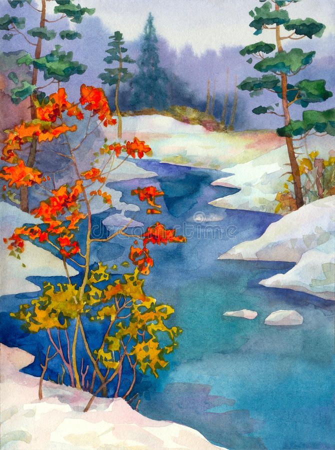Download The Brook In The Winter Forest Stock Illustration - Image: 13470205