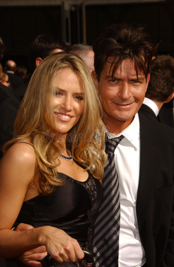 Brooke Mueller, Charlie Sheen. Brooke Mueller and Charlie Sheen arriving at the 59th Annual Primetime Emmy Awards. The Shrine Auditorium, Los Angeles, CA. 09-16 stock photos