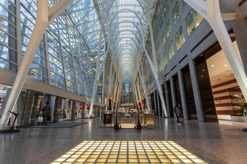 Brookfield Place, Toronto, Canada. Toronto, Canada - Oct 21, 2017: Interior of the Brookfield Place in Toronto. Brookfield Place is an office and shopping royalty free stock image