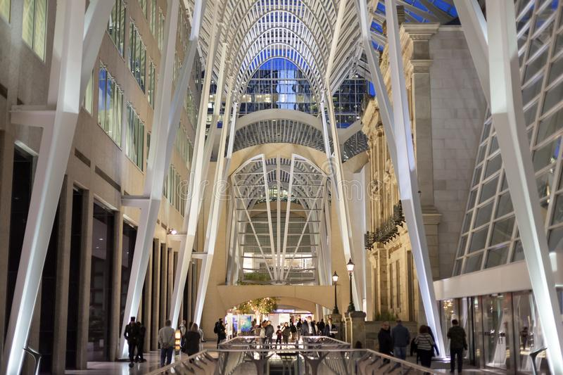 Brookfield Place, Toronto, Canada. Toronto, Canada - Oct 21, 2017: Interior of the Brookfield Place in Toronto. Brookfield Place is an office and shopping stock images