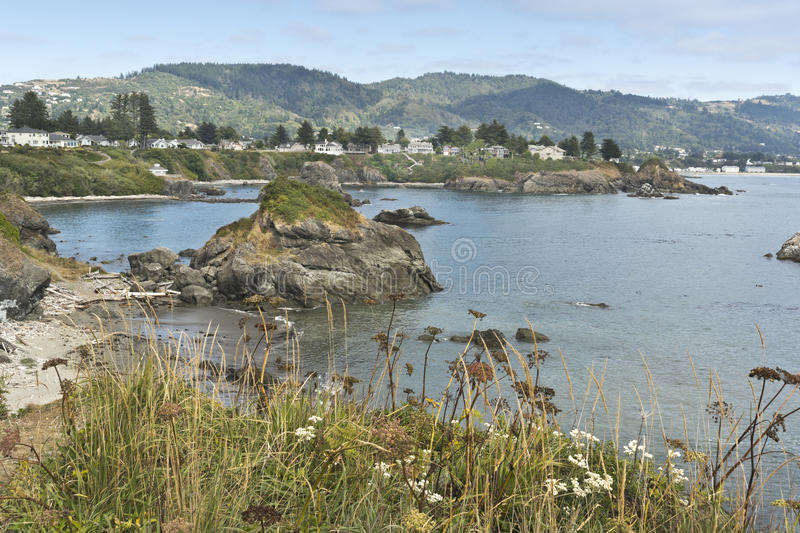 Brookings, Oregon from Chetco Point. View of Brookings, Oregon from Chetco Point Park stock photos