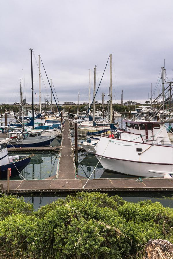 Brookings Harbor, Oregon. Brookings,Oregon,USA - June 6, 2017 : Sailboats in the harbor at Brookings royalty free stock image