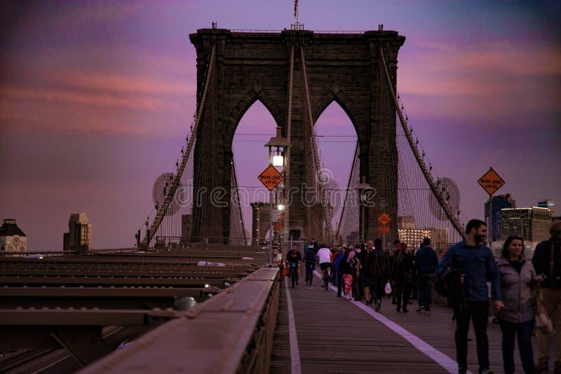 Brooklin most na zmierzchu widoku fotografia stock